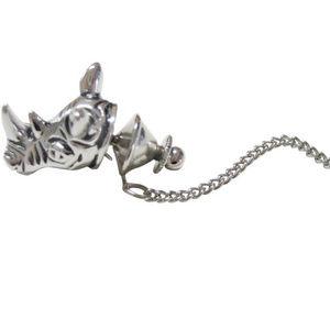Silver Toned Rhino Head Tie Tack